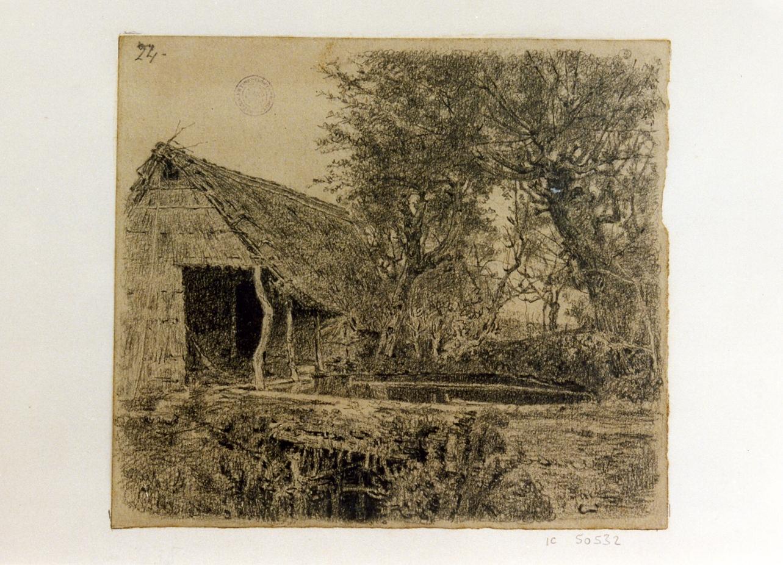 paesaggio rurale (disegno) di Michetti Quintilio (sec. XIX)