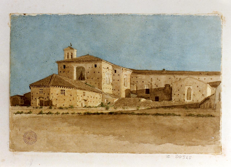 paesaggio con architettura (disegno) di Michetti Quintilio (sec. XIX)