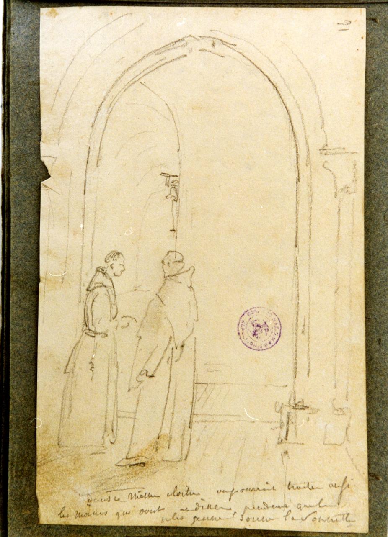 studio di interno con due monaci (disegno) di Vervloet Frans (secondo quarto sec. XIX)