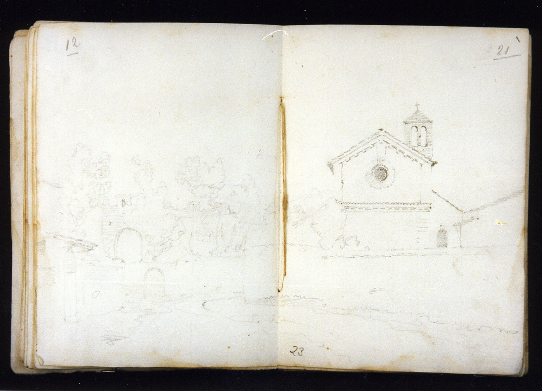 paesaggio con architettura (disegno) di Postiglione Raffaele (sec. XIX)