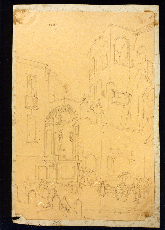 paesaggio (disegno) - ambito napoletano (sec. XIX)