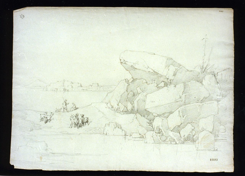 paesaggio campestre (disegno) - ambito napoletano (metà sec. XIX)