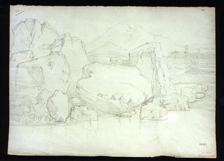 paesaggio (disegno) - ambito napoletano (metà sec. XIX)