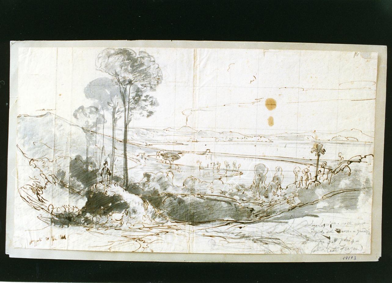 veduta del lago di Lucrino e del Monte Nuovo (disegno) di Gigante Giacinto (sec. XIX)
