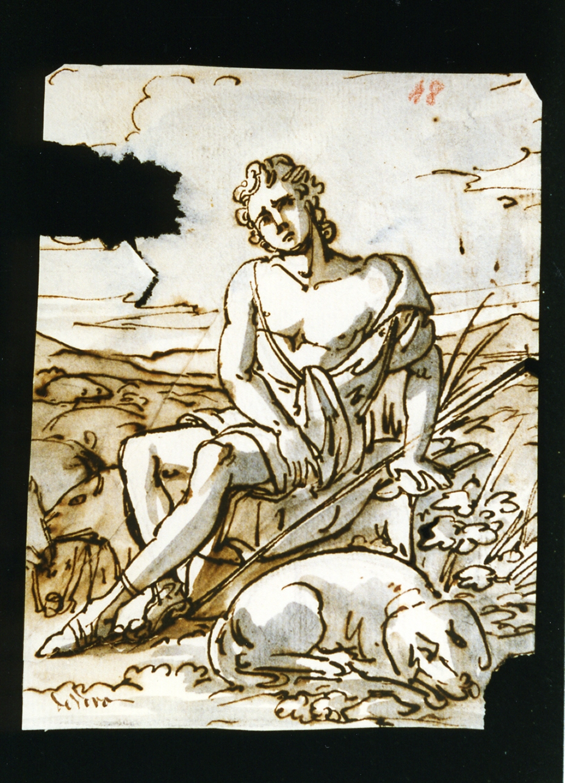 guardiano di porci con cane (disegno) di De Vivo Tommaso (metà sec. XIX)