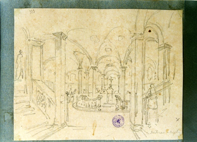 studio di una cripta di una chiesa di Napoli (disegno) di Vervloet Frans (sec. XIX)