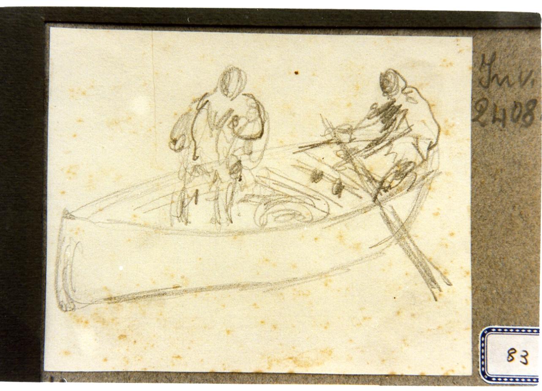 studio di barca con due figure (disegno) di Dalbono Eduardo (fine/inizio secc. XIX/ XX)