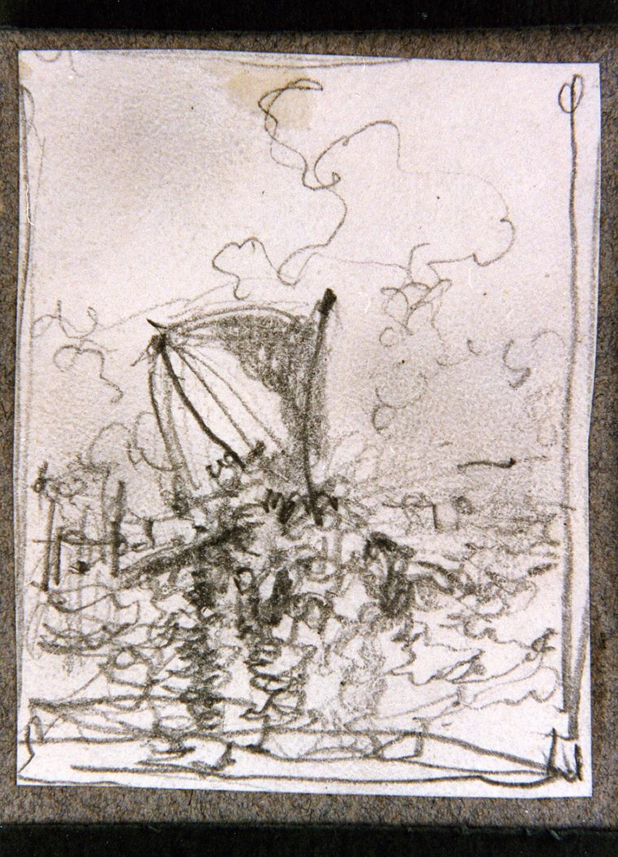 studio di barca in mare (disegno) di Dalbono Eduardo (fine/inizio secc. XIX/ XX)