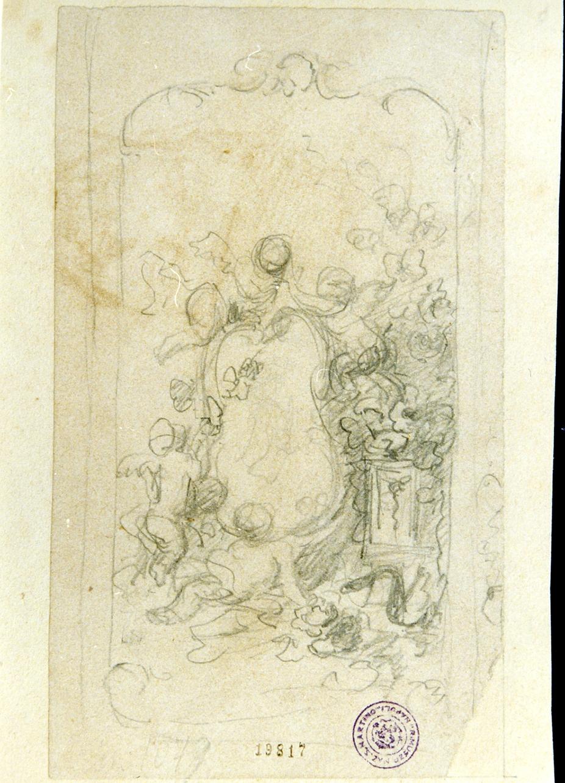 studio di decorazione con putti e stemma (disegno) - ambito napoletano (sec. XIX)