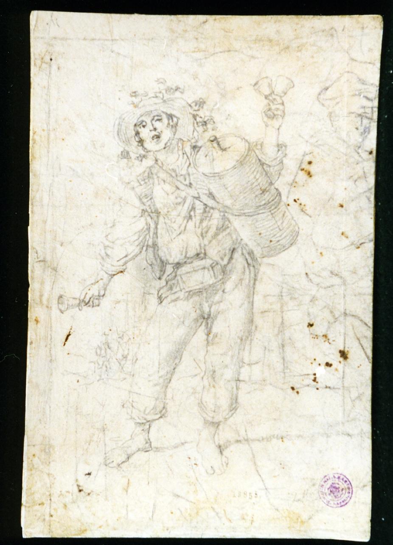 studio di acquaiolo ambulante (disegno) - ambito napoletano (sec. XIX)