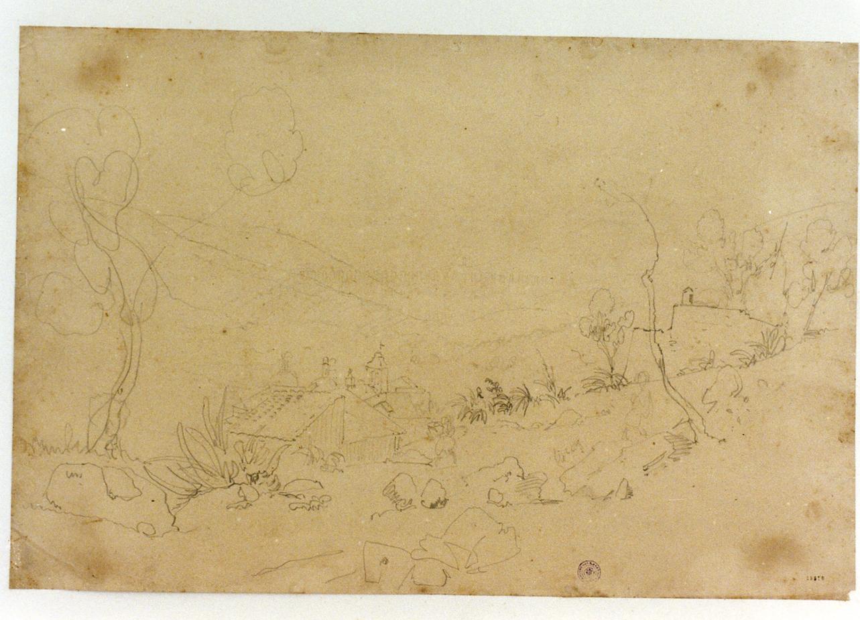 studio della veduta della valle di Maddaloni (disegno) - ambito napoletano (sec. XIX)