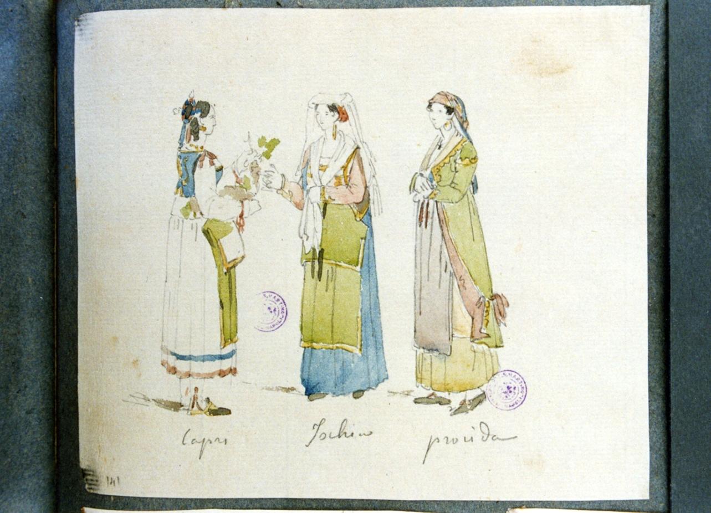 studio di figure femminili in costume popolare (disegno) di Vervloet Frans (secondo quarto sec. XIX)