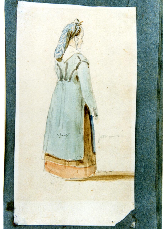 studio di figura femminile in costume popolare (disegno) di Vervloet Frans (secondo quarto sec. XIX)