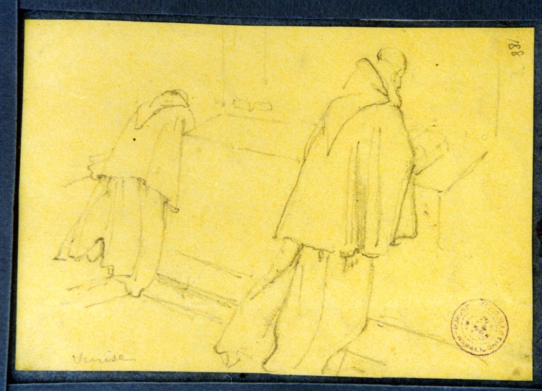 studio di monaci in preghiera (disegno) di Vervloet Frans (secondo quarto sec. XIX)