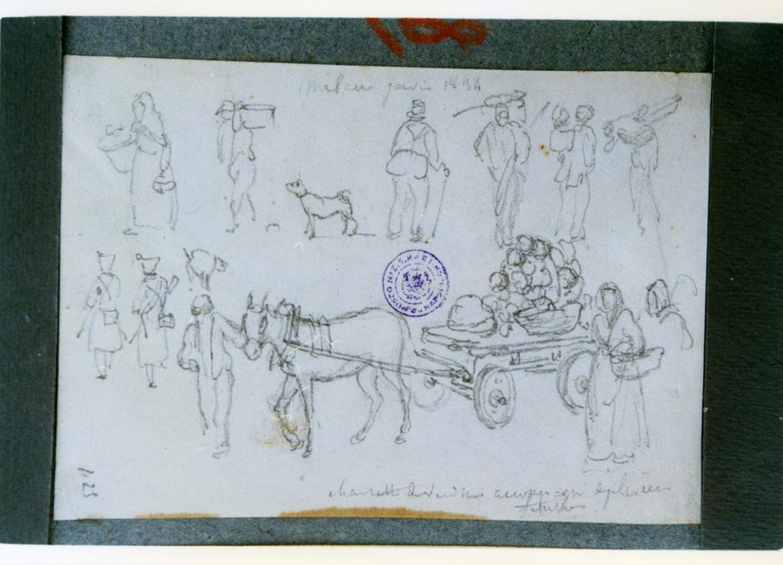 scena di mercato (disegno) di Vervloet Frans (sec. XIX)