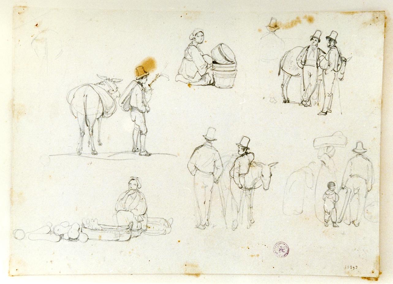 studio di contadini (disegno) di Gigante Giacinto (sec. XIX)