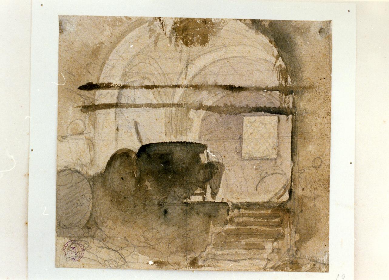 studio di interno rustico (disegno) di Gigante Giacinto (sec. XIX)