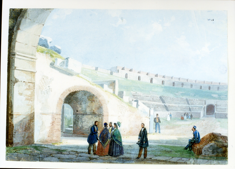 anfiteatro di Pozzuoli con figure (disegno) di Fergola Salvatore (sec. XIX)