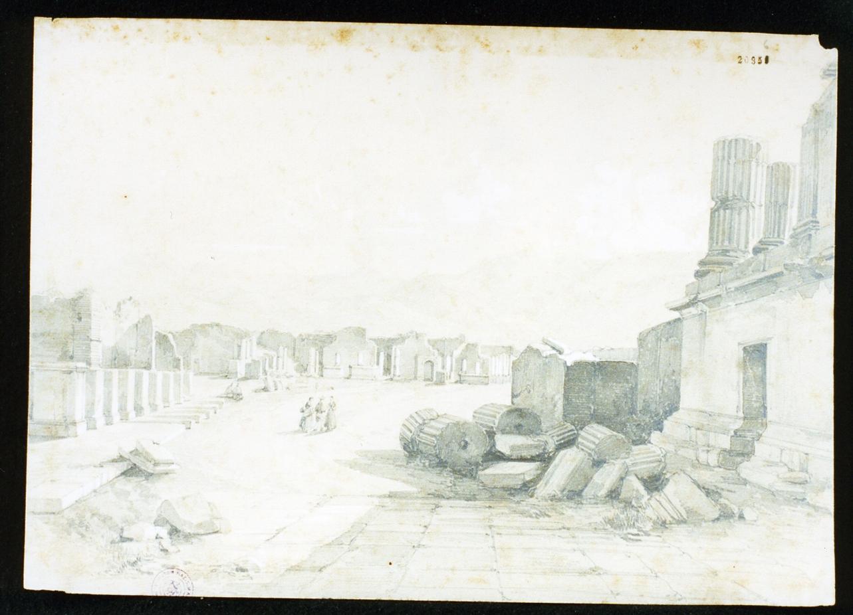 veduta del foro di Pompei (disegno) di Franceschini Vincenzo (sec. XIX)