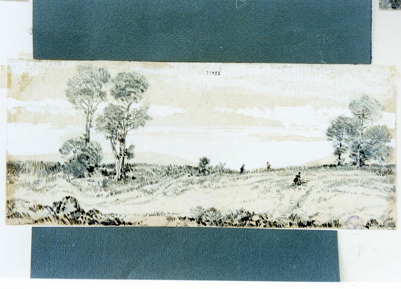studio di paesaggio campestre (disegno) di Carrillo Achille (sec. XIX)