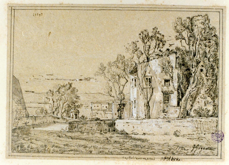 casale nei pressi di Castellammare di Stabia (disegno) di Gigante Giacinto (sec. XIX)