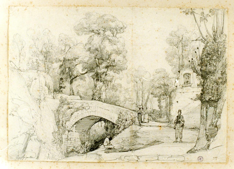 paesaggio con ponte presso Sorrento (disegno) di Gigante Giacinto (sec. XIX)