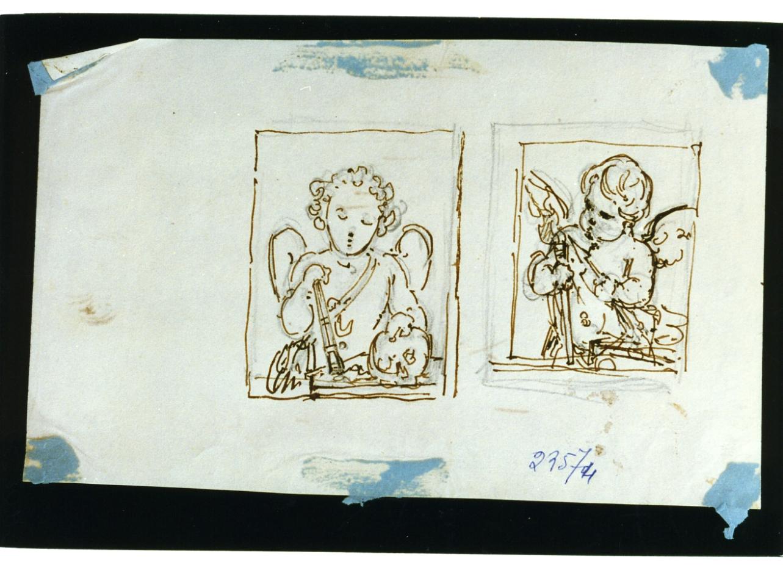 studio di putti con faci (disegno) di De Vivo Tommaso (terzo quarto sec. XIX)