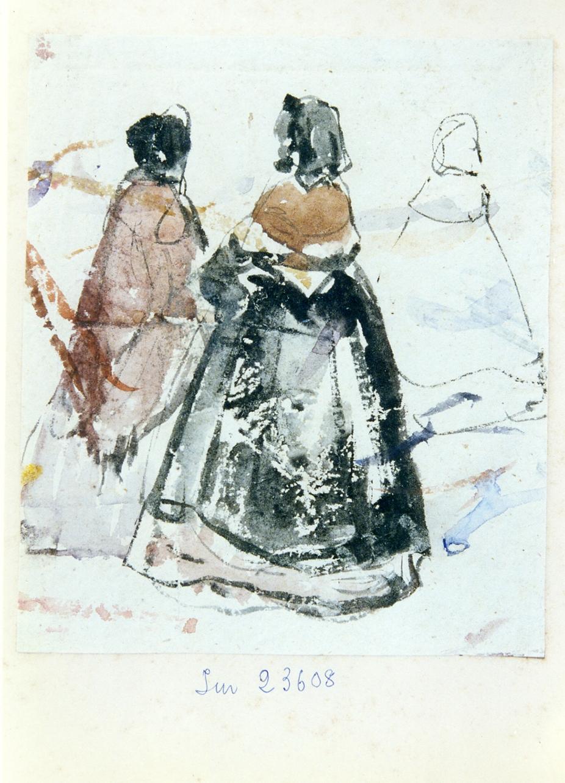studio di tre figure femminili viste di spalle (disegno) di Gigante Giacinto (sec. XIX)