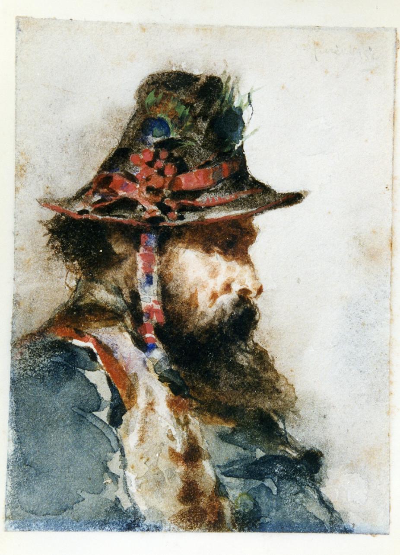 ritratto di pastore ciociaro di profilo (disegno) di Puricelli Giuseppe (sec. XIX)
