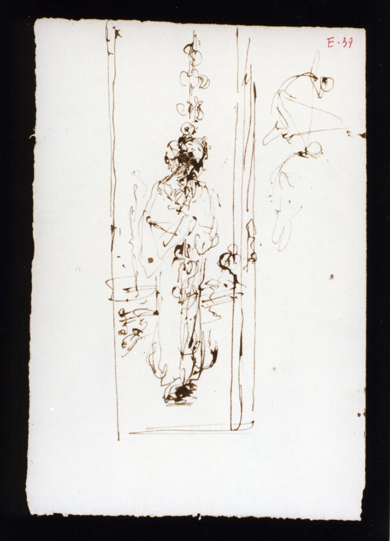 studio di figura femminile in chimono (disegno) di Vetri Paolo (secc. XIX/ XX)