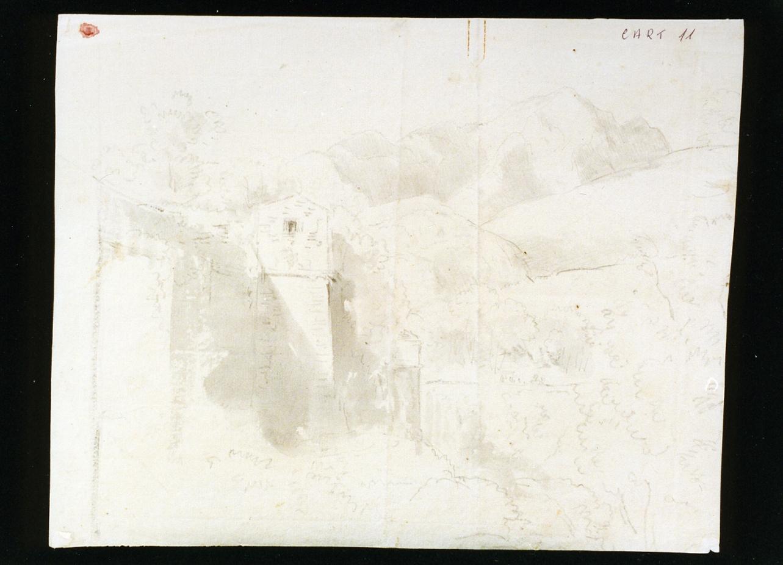 veduta delle mura di Sorrento (disegno) di Cammarano Antonio (sec. XIX)