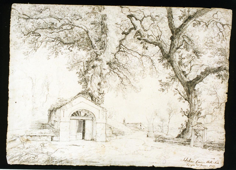 paesaggio campestre con architetture (disegno) di Candido Salvatore (sec. XIX)
