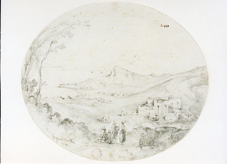 paesaggio con figure (disegno) di Carelli Consalvo (sec. XIX)