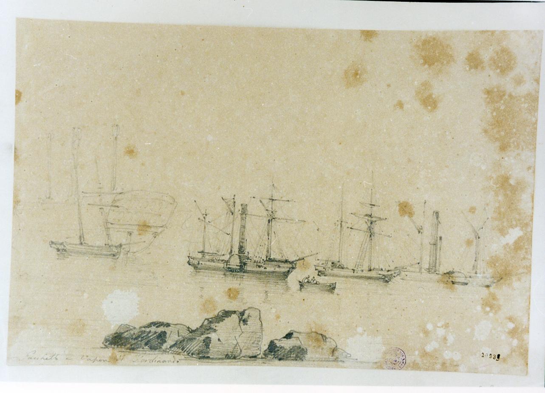 marina con pescatori e barche (disegno) di Carelli Raffaele (sec. XIX)