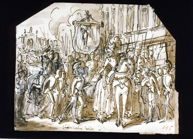 scena con cavalieri (disegno) di De Vivo Tommaso (sec. XIX)