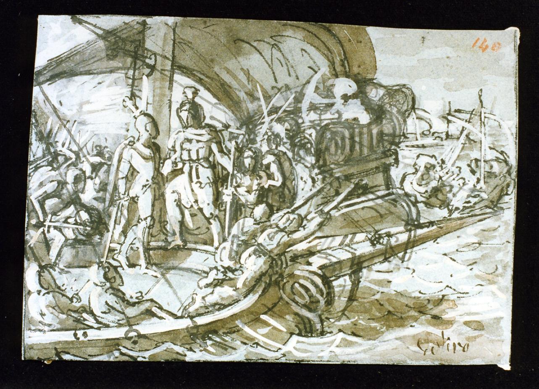 scena da una battaglia navale (disegno) di De Vivo Tommaso (sec. XIX)