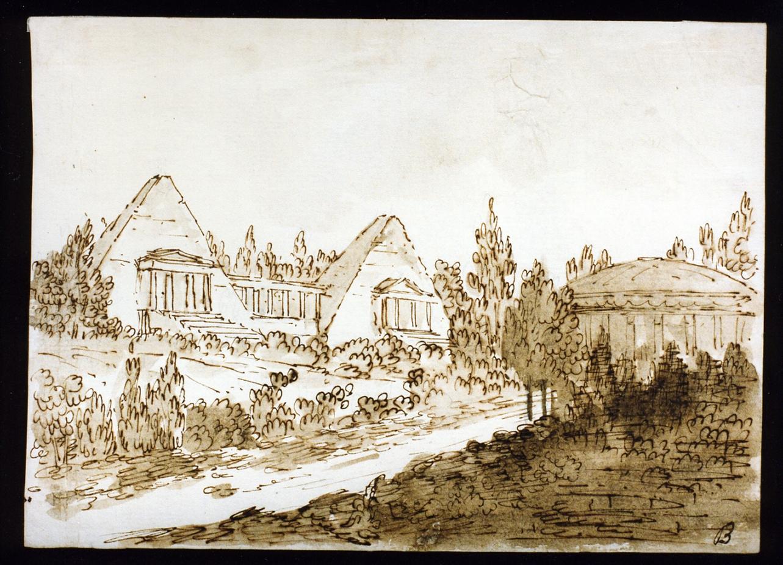 bozzetto di scenografia con tempio e piramide (disegno) di Niccolini Antonio (scuola) (prima metà sec. XIX)