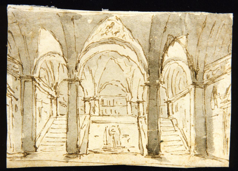 bozzetto di scenografia con volte a crociera (disegno) di Niccolini Antonio (scuola) (sec. XIX)