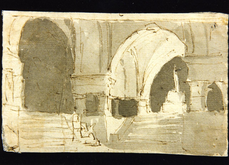 bozzetto di scenografia con ambiente archivoltato (disegno) di Niccolini Antonio (scuola) (sec. XIX)