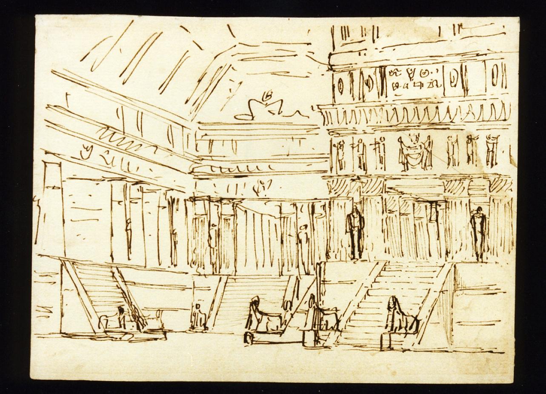 bozzetto di scenografia con architetture egiziane (disegno) di Niccolini Antonio (scuola) (sec. XIX)