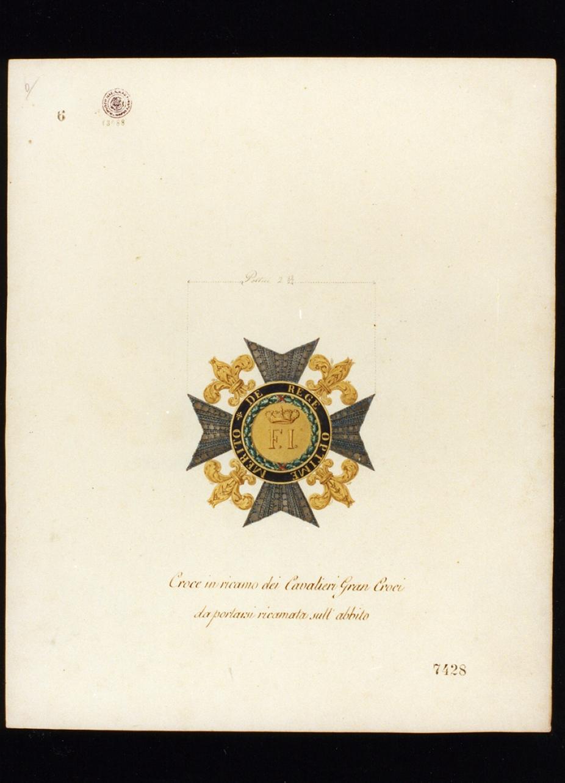 croce dei cavalieri delle gran croci (disegno) - ambito napoletano (sec. XIX)