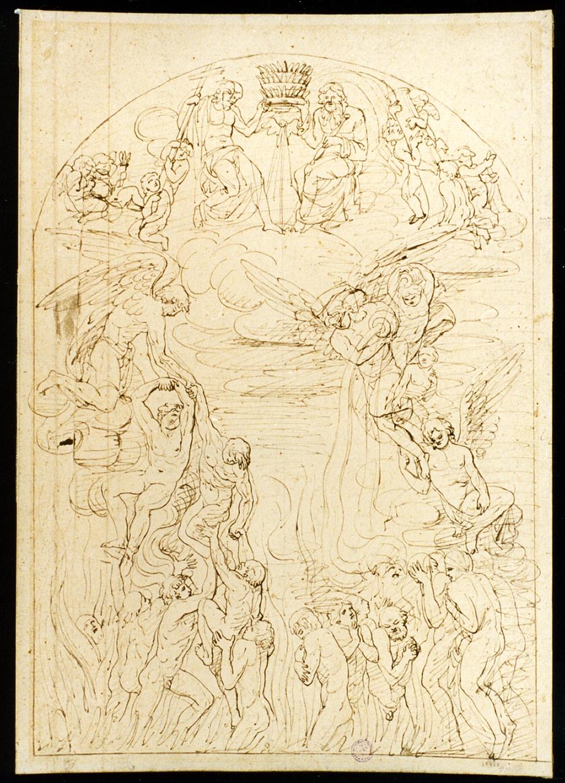 schizzo per Santa Trinità e le anime purganti (disegno) di La Volpe Nicola (metà sec. XIX)