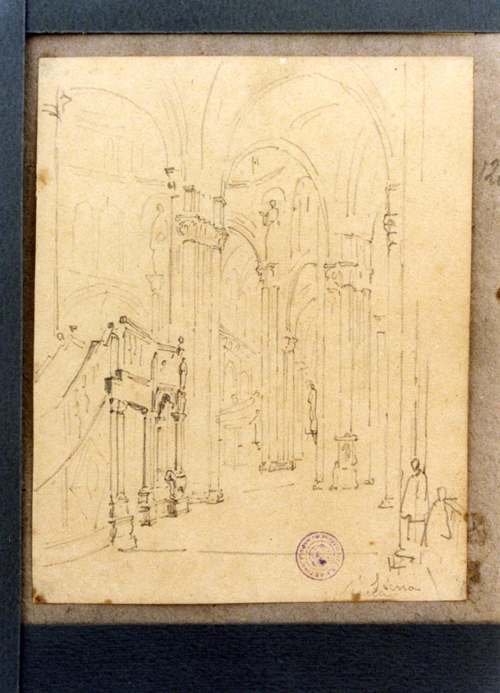 interno del duomo di Siena (disegno) di Vervloet Frans (prima metà sec. XIX)