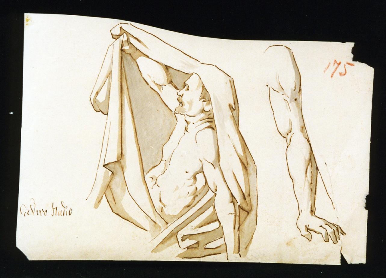 studio di figura maschile con mantello (disegno) di De Vivo Tommaso (terzo quarto sec. XIX)