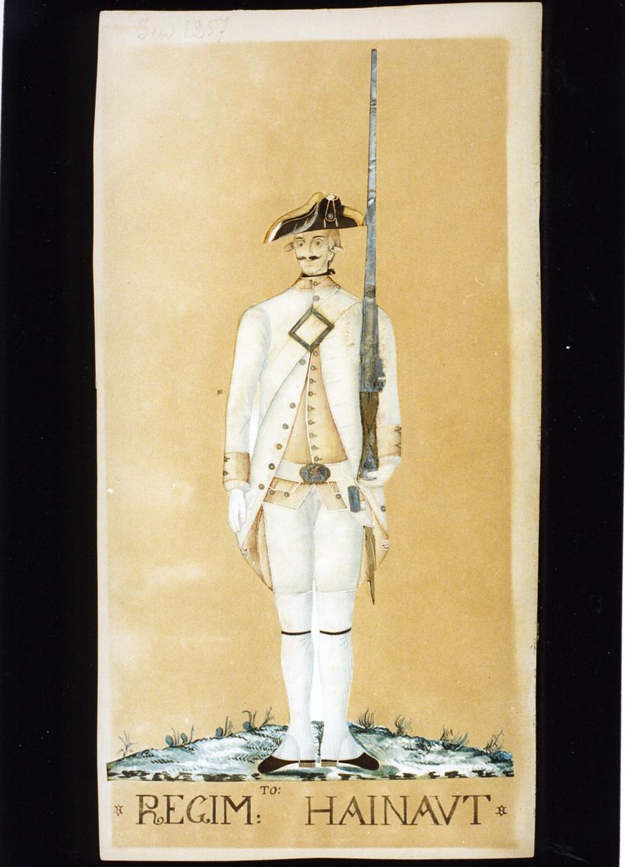 militare borbonico del reggimento Hainaut (disegno) - ambito italiano (sec. XVIII)