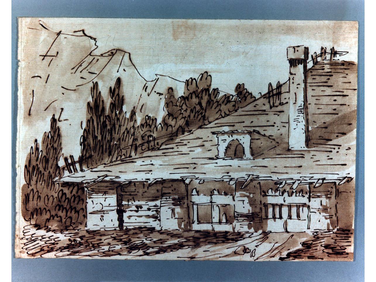 casa rustica (disegno) di Niccolini Antonio (sec. XIX)
