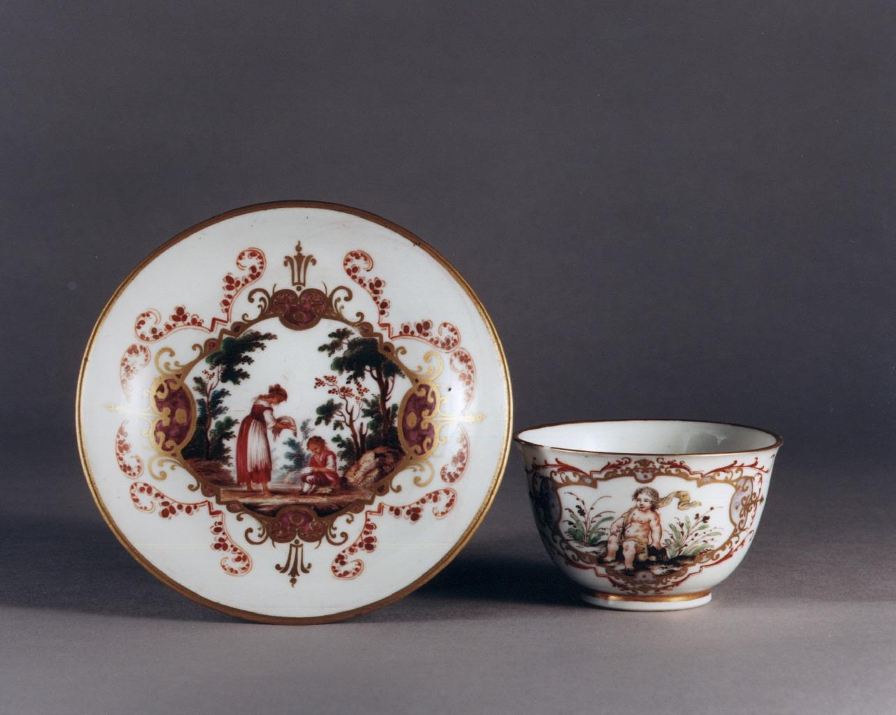 scena campestre con figure (servizio da caffè, insieme) - manifattura Richard-Ginori (sec. XVIII)