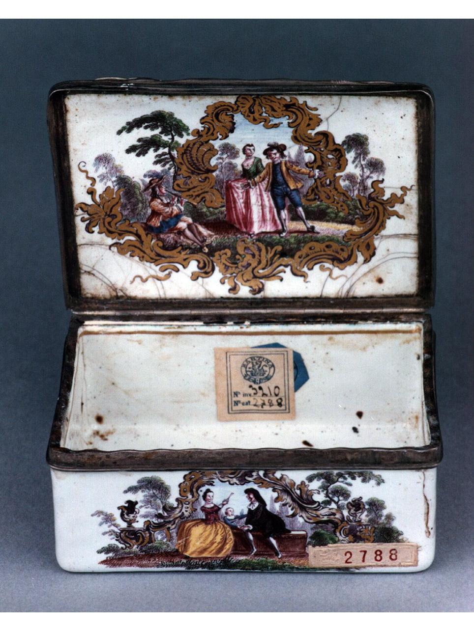 scena campestre con figure (tabacchiera) - bottega tedesca (metà sec. XVIII)