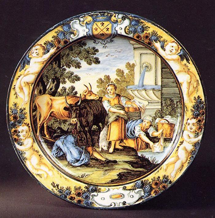 scena campestre con figure (piatto) di Gentili Carmine (prima metà sec. XVIII)