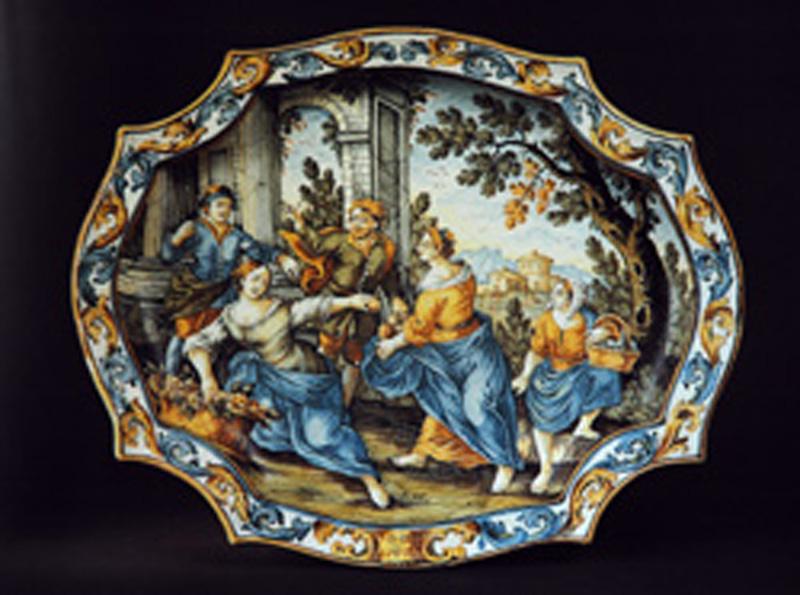 scena campestre con figure (vassoio) di Gentili Berardino il Giovane (metà sec. XVIII)